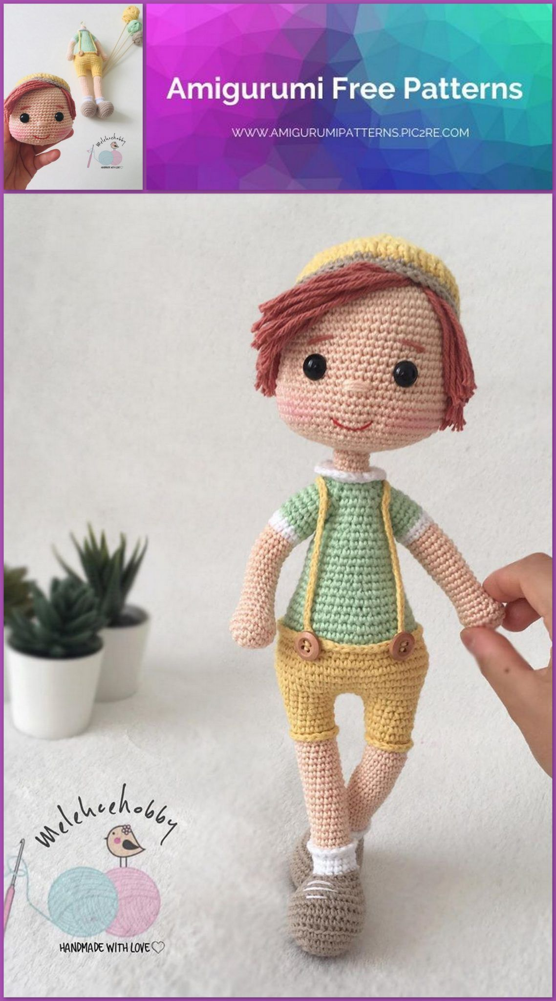 Free Crochet Amigurumi Doll Pattern Tutorials | Crochet dolls free ... | 2048x1138