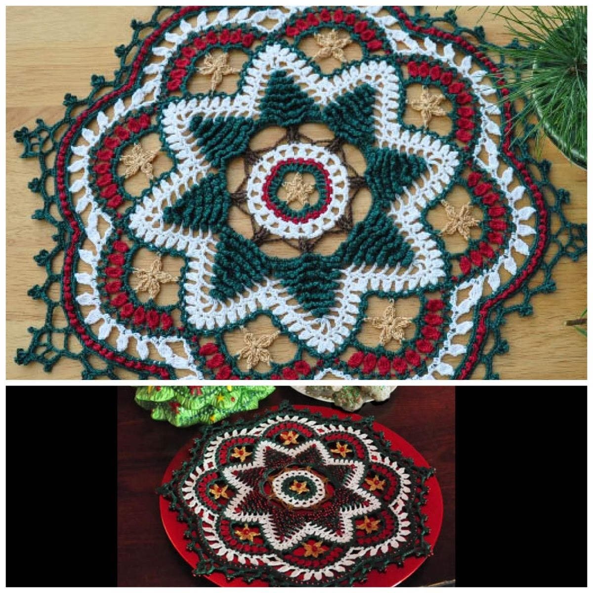 Oh Christmas Tree Doily By Kathryn White Can Be Stitched With Or Without Beads Christmas Holiday Doily Thread Crochet Christmas Crochet Patterns Crochet Doilies Doily Patterns
