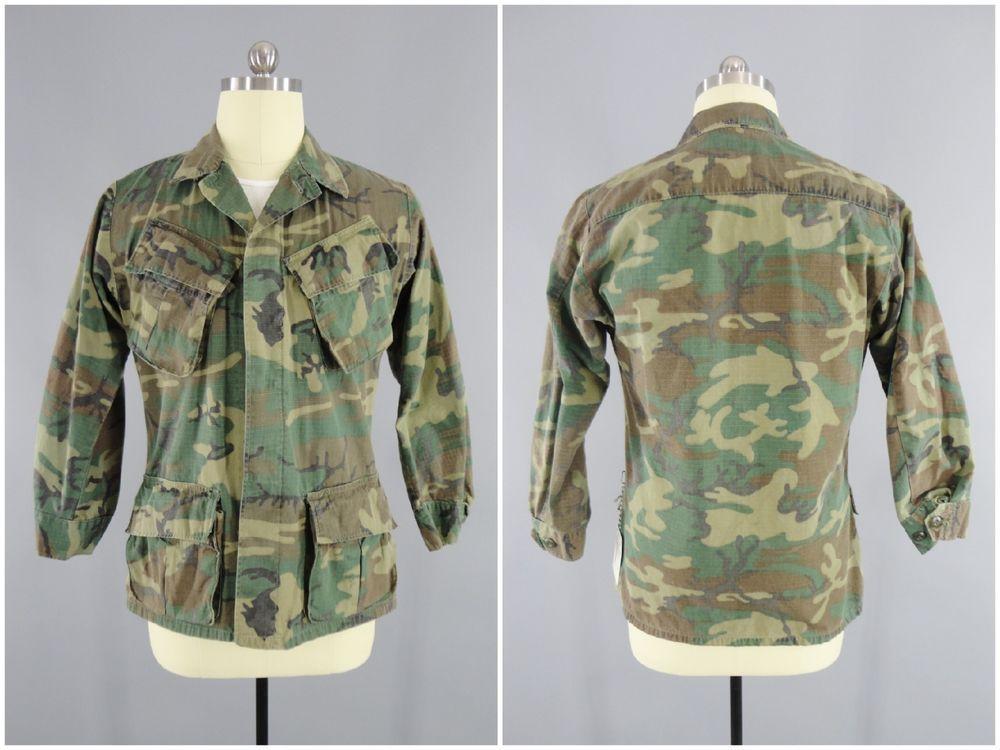 b41e6057ec7a 1960s Vintage Woodland ERDL Vietnam War Jungle Camoflage Camo Shirt DSA 1969