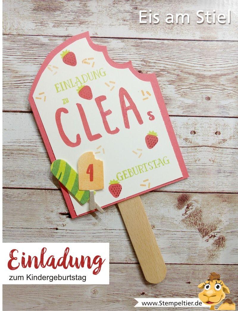 Stampin Up Blog Einladung Kindergeburtstag Eis Baby Am Stiel Invitation  Birthday Stempeltier