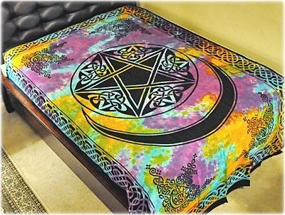 Pentacle with Moon - Tie-Dye - Tapestry 72 in. x 108 in.
