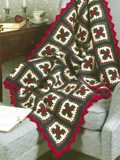 Christmas Crochet Blanket Free Pattern.Free Christmas Blanket Crochet Patterns Granny Square