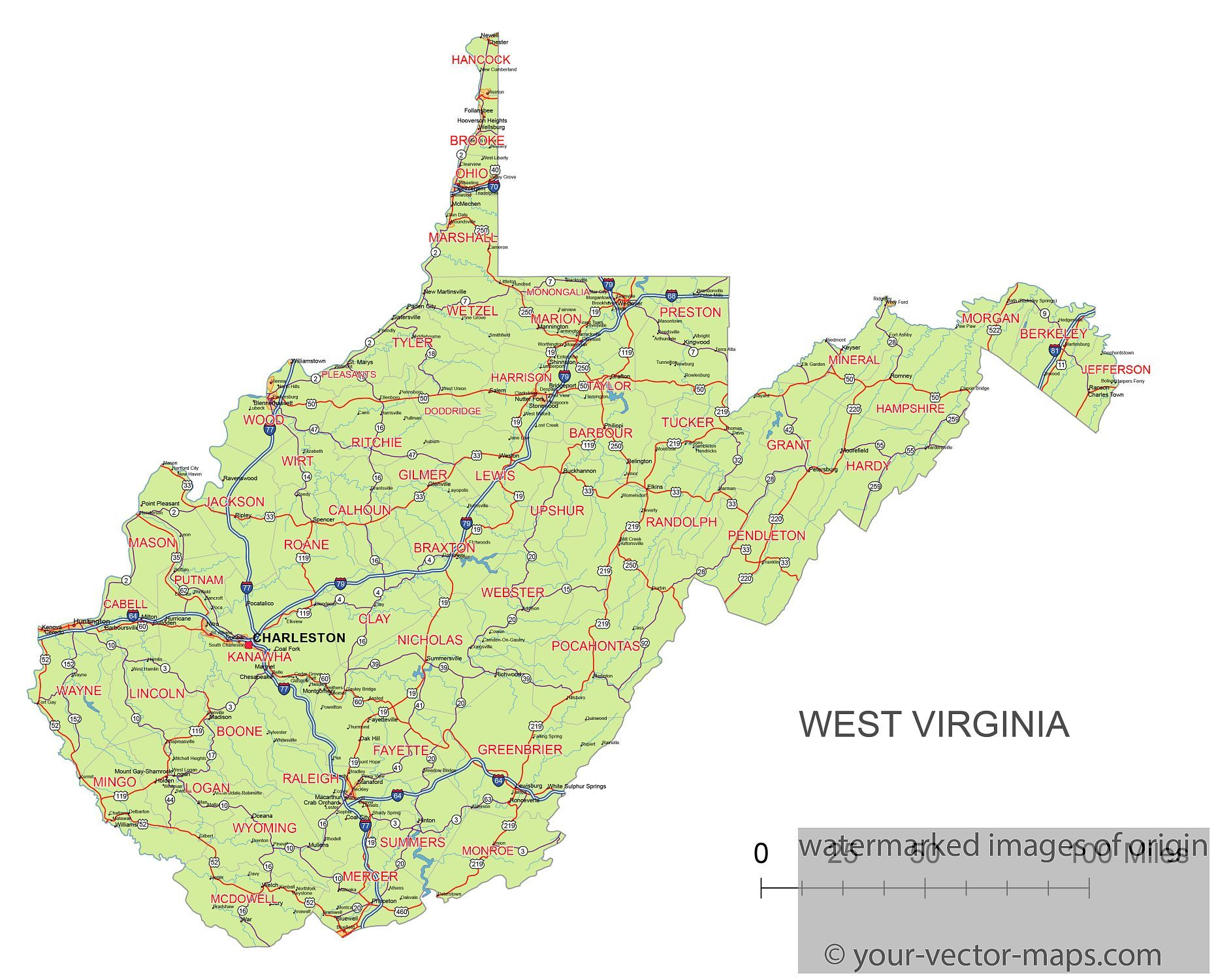 West Virginia Maps Showing Counties Roads Highways