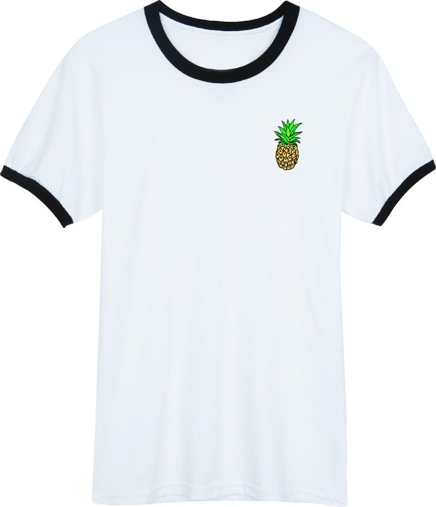 Pinapple Black and White Ringer T