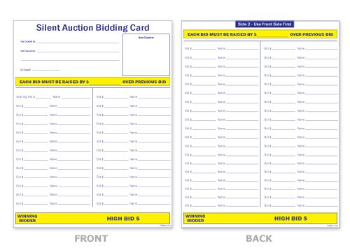 Search results for silent auction sign up sheets for Auction bid cards template