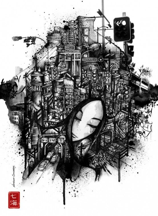 Quirky art · black and white illustrations by nanami cowdroy