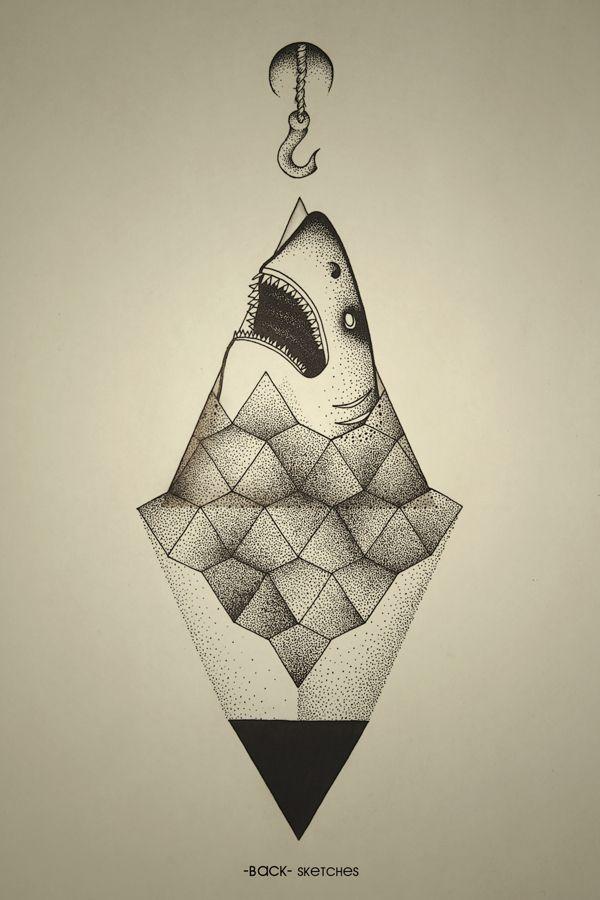 On Paper Shark Outside Of Geometry Shark Art