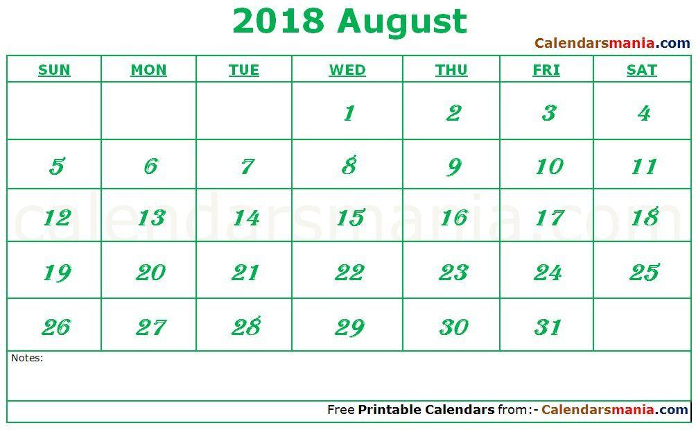 August 2018 Calendar Word August 2018 Calendar Pinterest