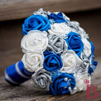 royal blue silver wedding bouquet glitter crystals bridal silk ...
