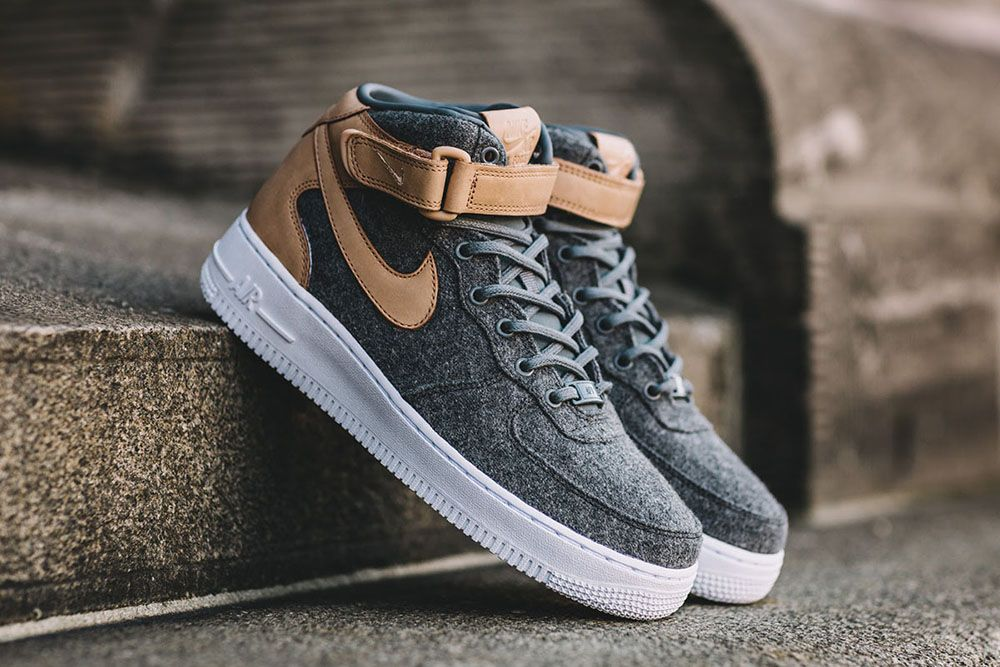 """NIKE AIR FORCE 1 MID WMNS """"LEATHER & WOOL"""" menstyle"""