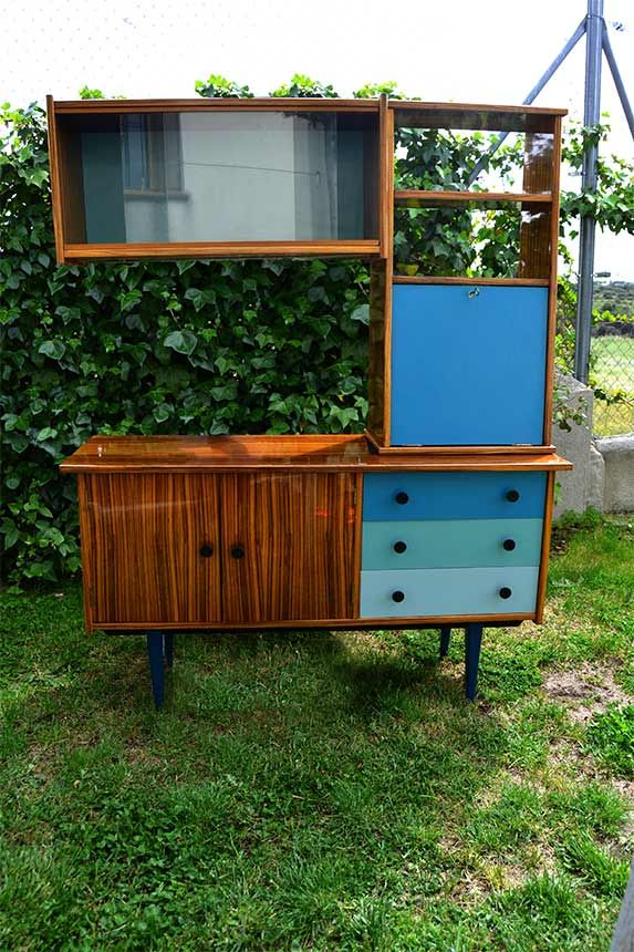 Aparador chapeado en cebrano y formica a os 60 aparador y dos cuerpos estanteria con mueble bar - Muebles anos 60 ...