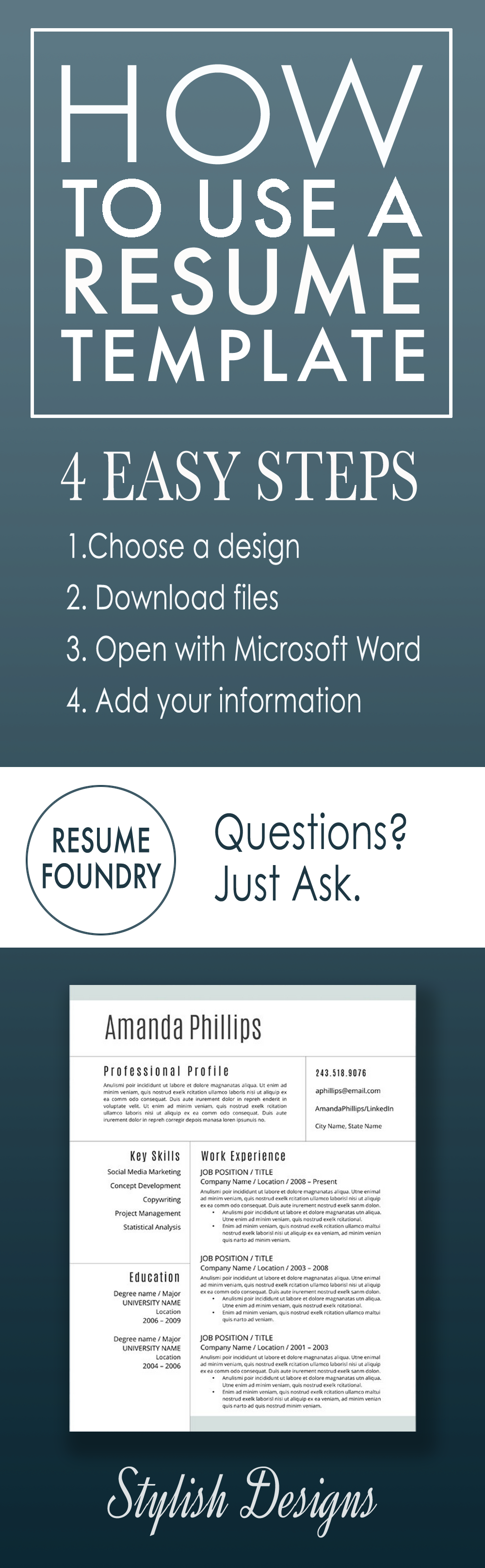 How to fill out a resume template in four easy steps. | Resume ...