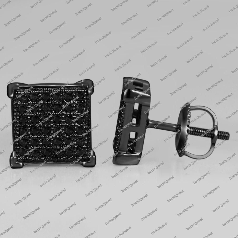 0.29 CT Round Real Black Diamond Screw Back Stud Earrings 14K Black Gold Plated #bacio2jewel #StudEarrings