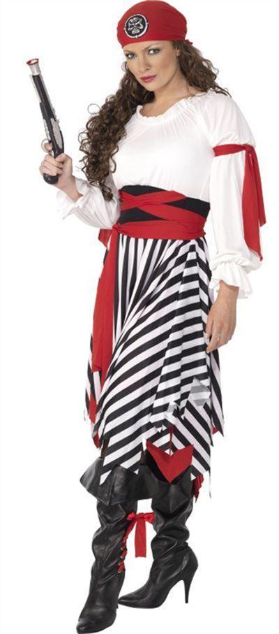8763770156dc Ladies Pirate Costume black and white stripe skirt.