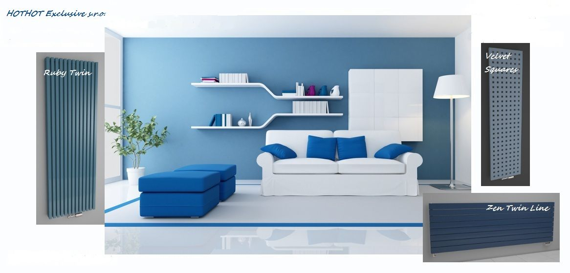Radiators Ruby Twin, Velvet Squares and Zen Twin Line in blue colour ...