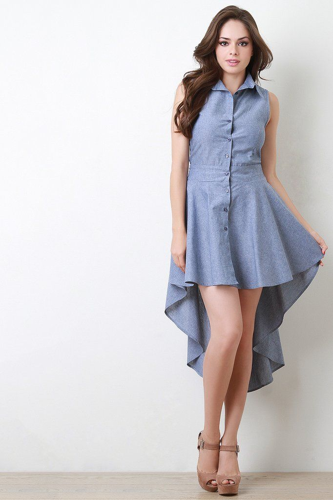 d9b11fb9390 Chambray Button-Up High-Low Dress