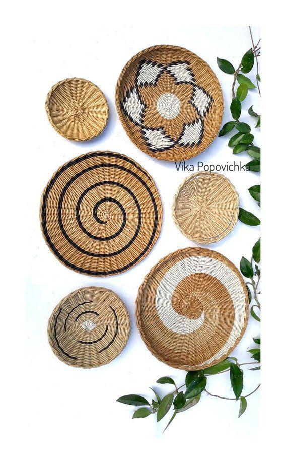 Set Of 6 Wall Plates African Basket Wicker Boho