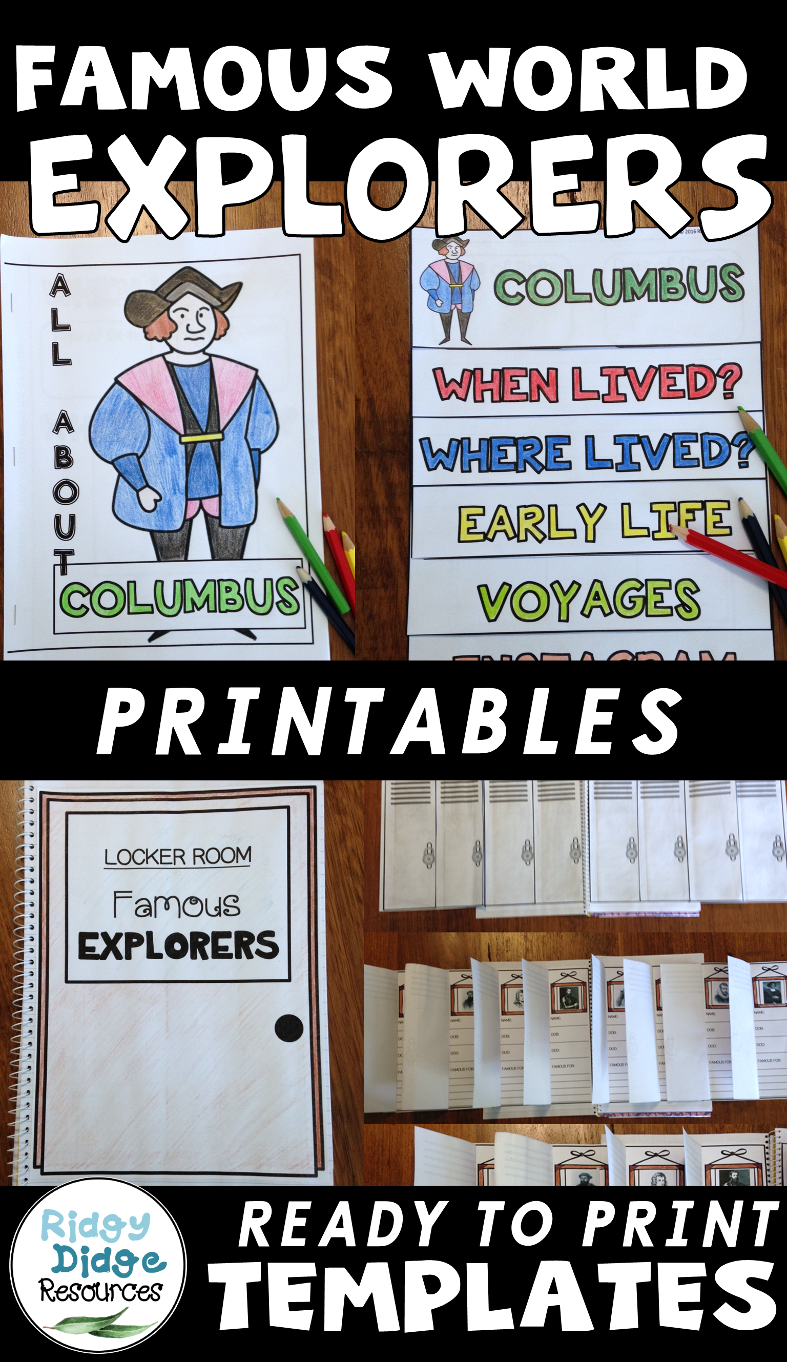 Famous World Explorers Posters Worksheets Research