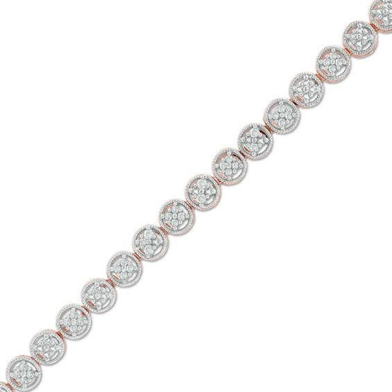 Zales 1/10 CT. T.w. Diamond Double Hearts with Ribbons Bracelet in Sterling Silver and 14K Rose Gold Plate - 7.25 bCJX9KnA4V