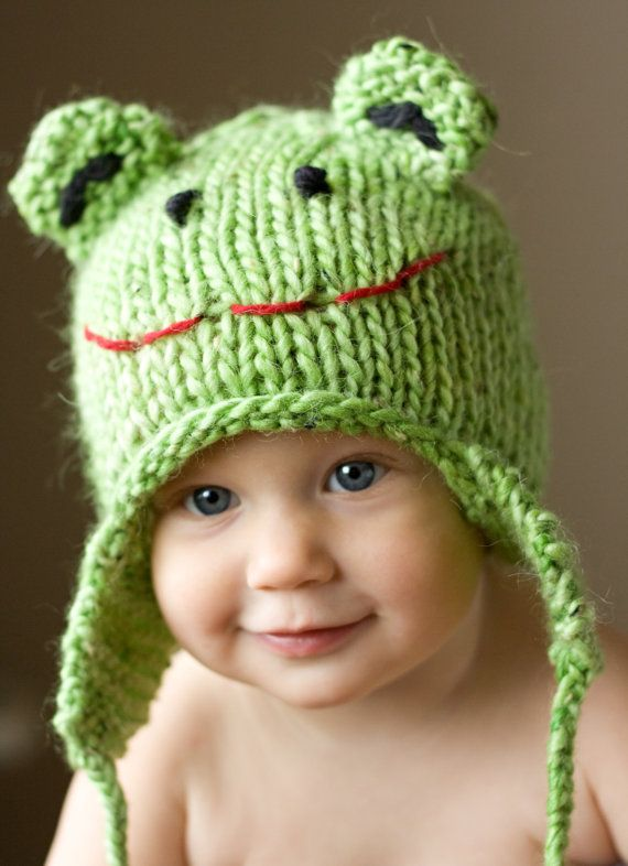 Knit Frog Hat | Baby hats knit and croket | Pinterest