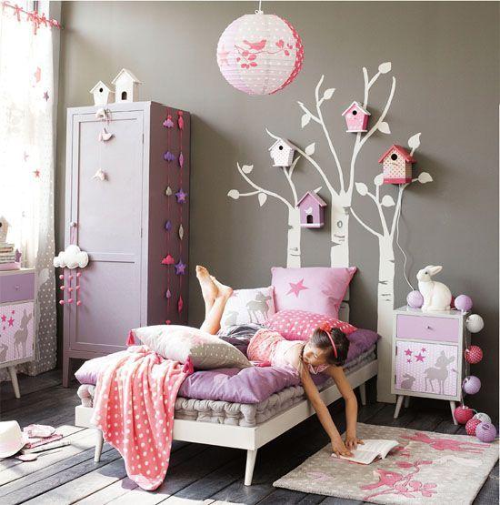 Déco de chambre grise et rose  Une décoration douce pour petite