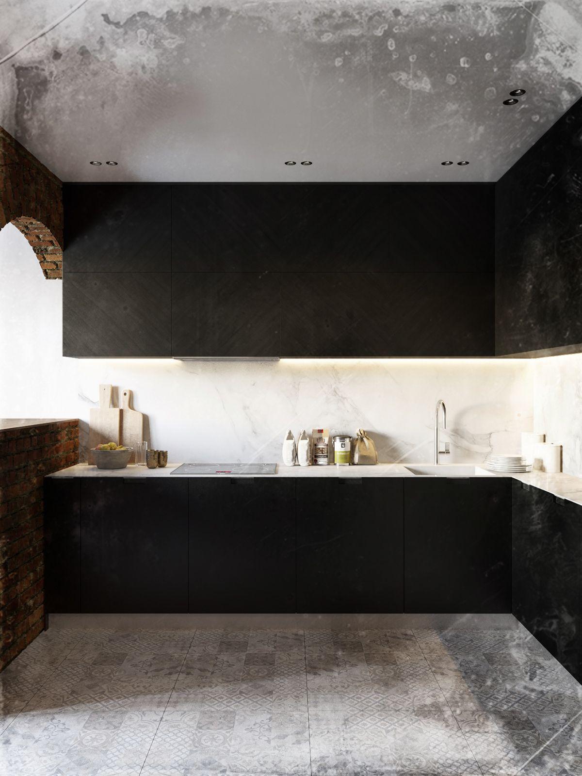 Dark interior in minimalism style and brutalism on Behance ...