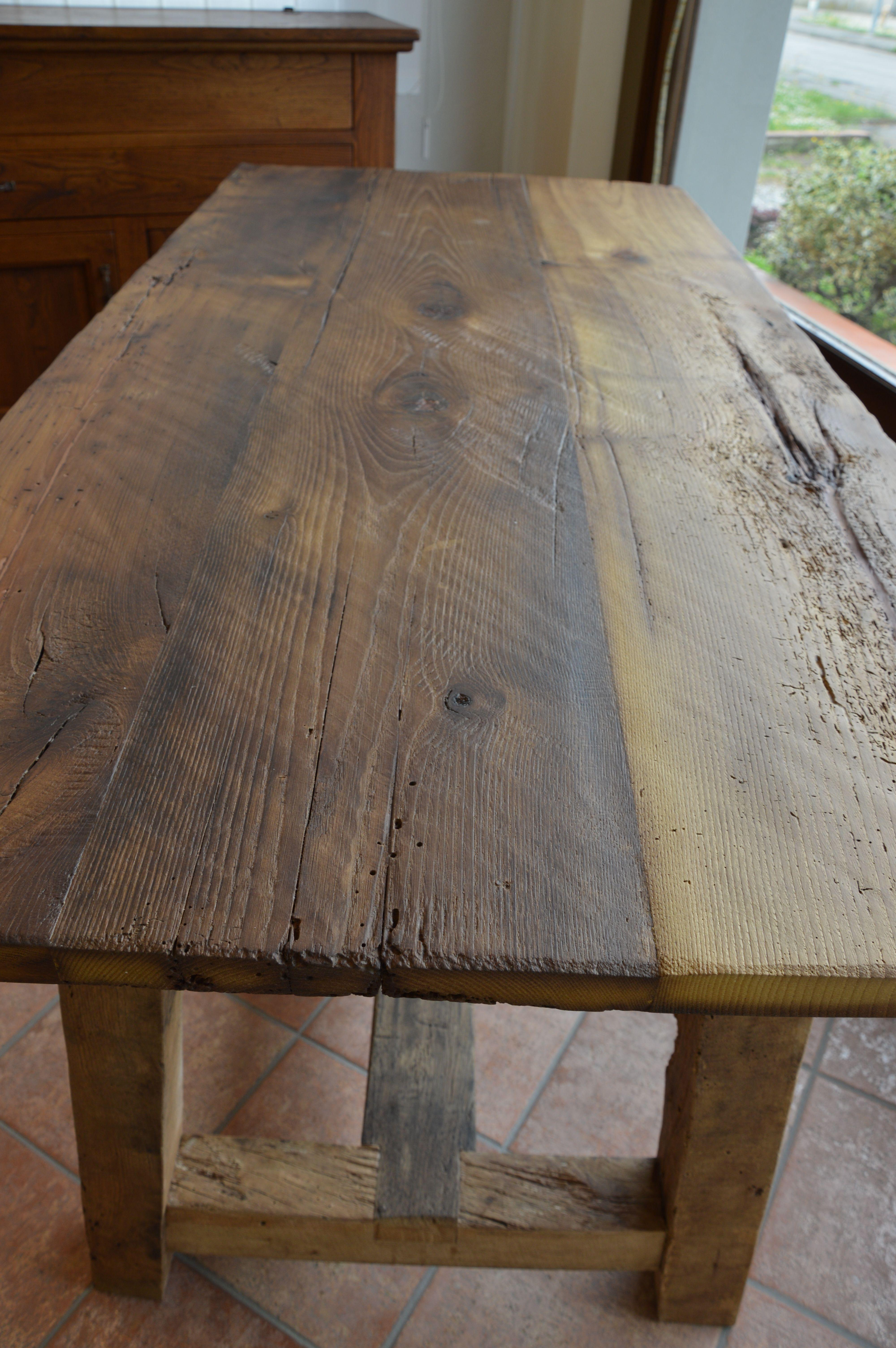Falegnameria bensi tavolo a capretta in castagno antico for Tavoli in legno massello rustici