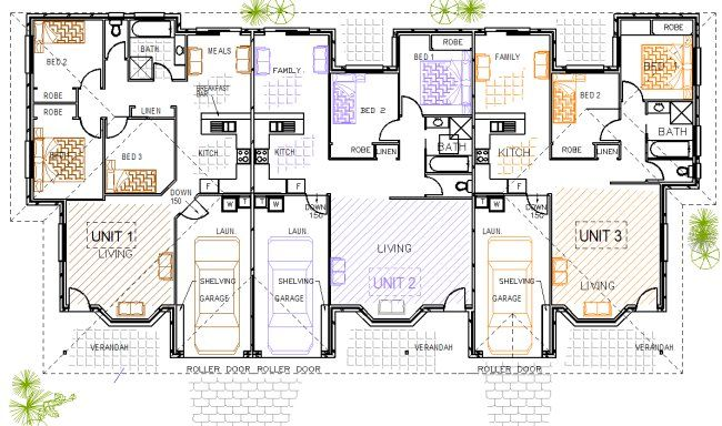 Homeworld 336 Du Triplex Plans 3 Units Home Design 3 X 2 X 2n Duplex House Builders Floor Plans House Floor Plans Duplex House Plans