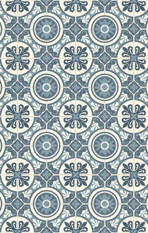 PVC (14\u20ac/m²) CV Bodenbelag Bfl/S1 Retro Design grau blau 200 cm