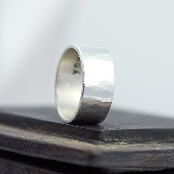 Hammered Silver Ring Distressed Band Wedding Ring Wedding Etsy Silver Band Ring Wedding Men S Wedding Ring Hammered Wedding Bands