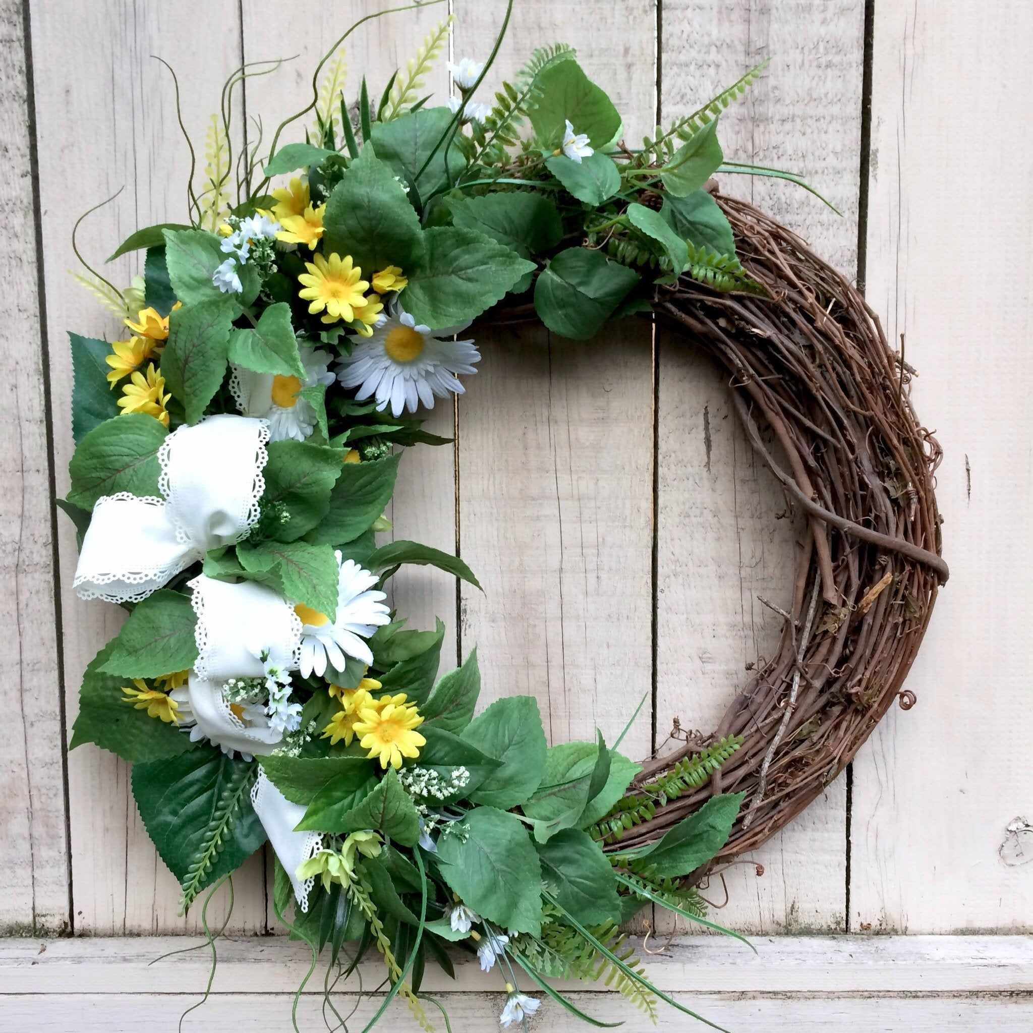 Photo of Spring Wreath, Large Spring Wreath, Spring Grapevine, Grapevine Wreath, Greenery Wreath, White and Yellow Flowers.