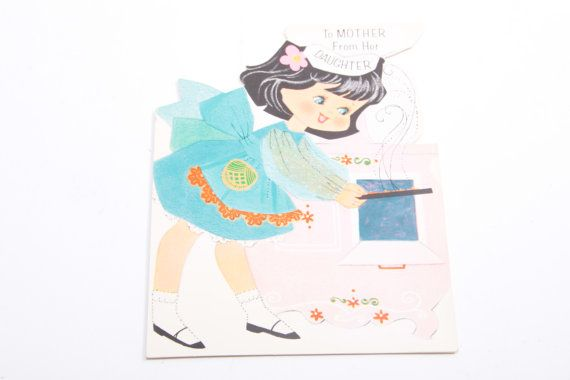 Vintage Greeting Card - Girl Pulling Baked Goods out of Oven - Mother's Day Card - 1960s - Cartoon Girl - Ephemera  The Pink Room  160921 by ThePinkRoom