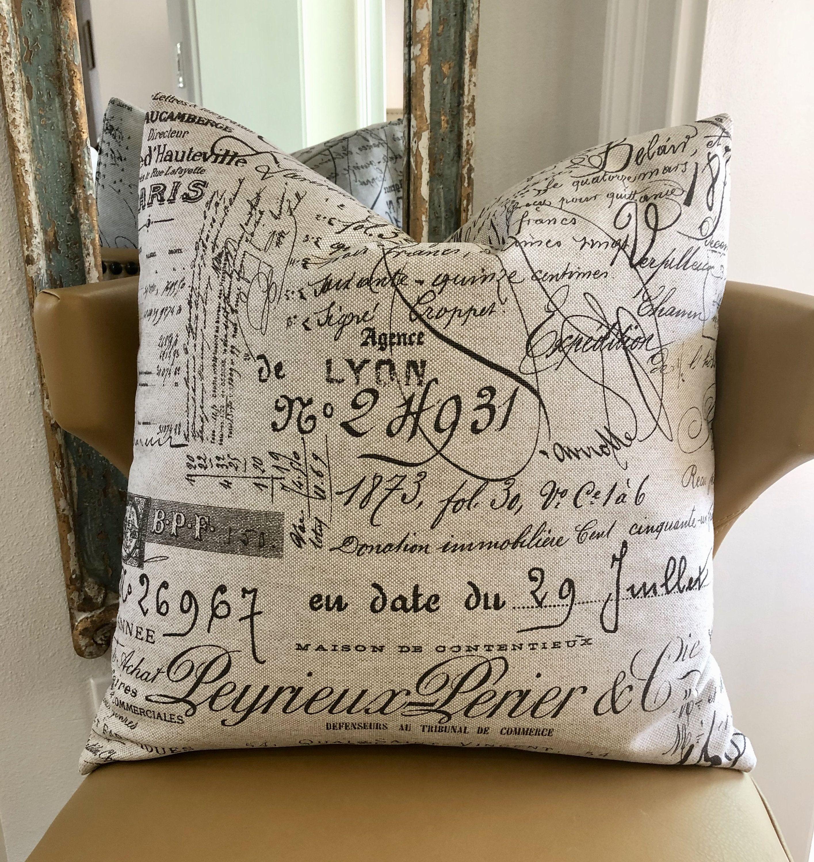 brown script decorative throw pillow