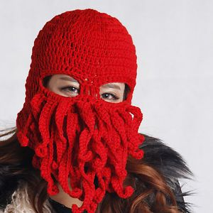 7fb12d7b493 Unisex Barbarian Knit Beanie Warm Hat Octopus Stubble Beard Cap Wind Mask