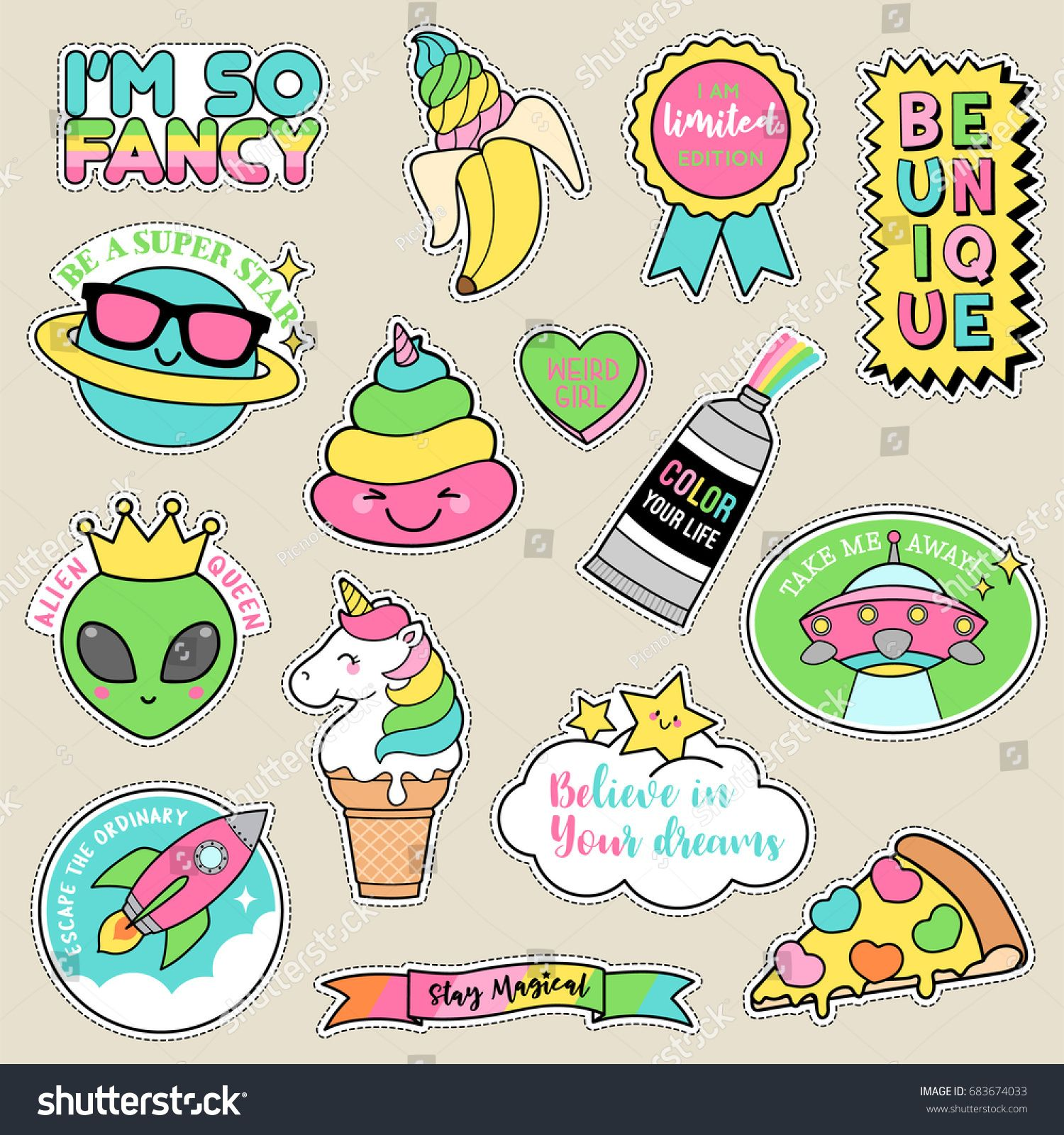 Set of fashion patches, pastel badges, fun cartoon icons