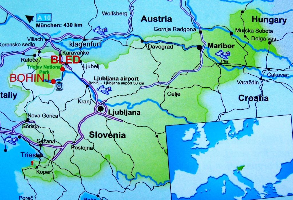 Map Of Slovenia With Lake Bled And Lake Bohinj With Images Map