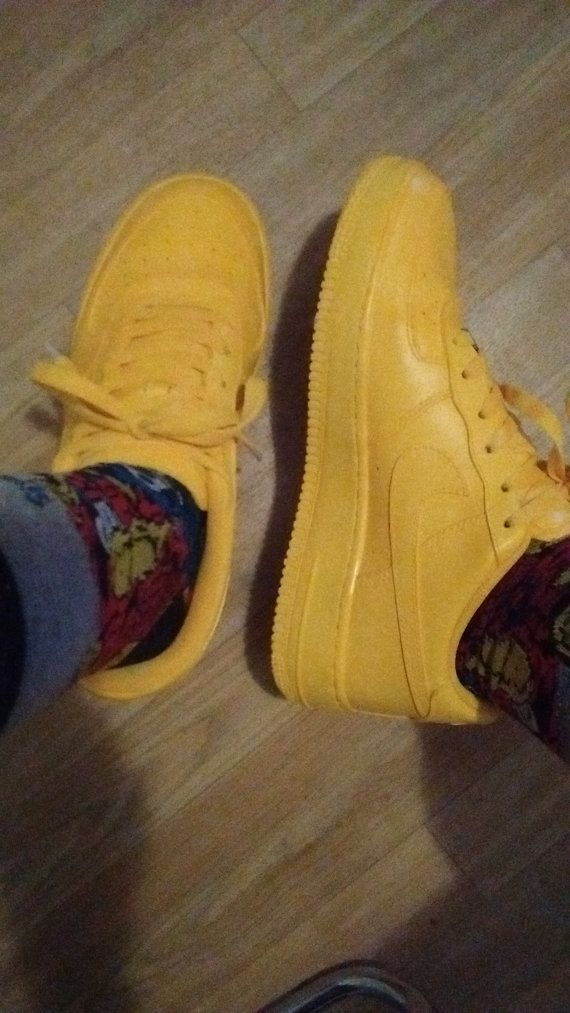 e02fee0a Custom Yellow Air Force Ones by CockyCreation on Etsy | Shoes ...