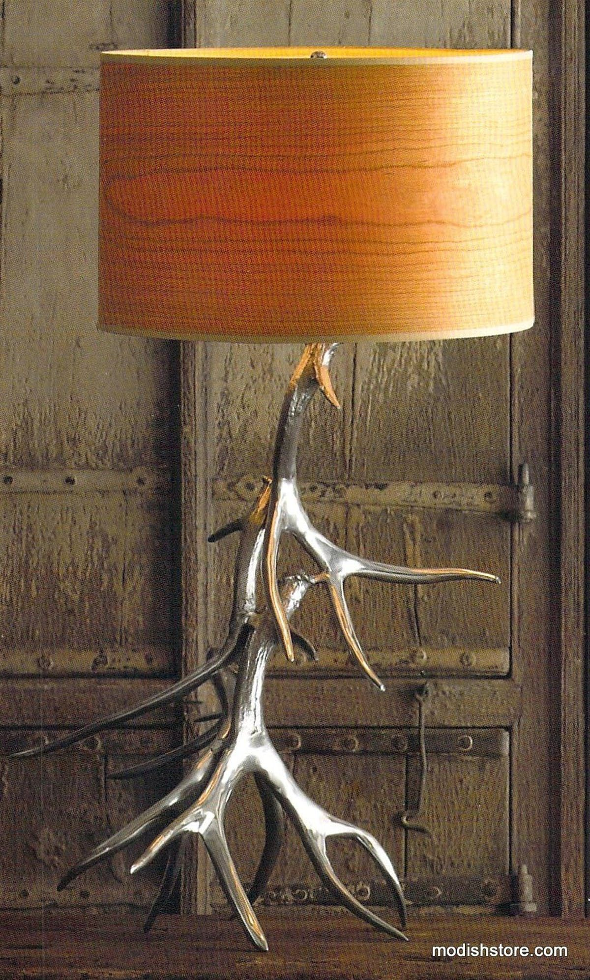 Roost Aluminum Antler Lamp Base & Wood Veneer Shade