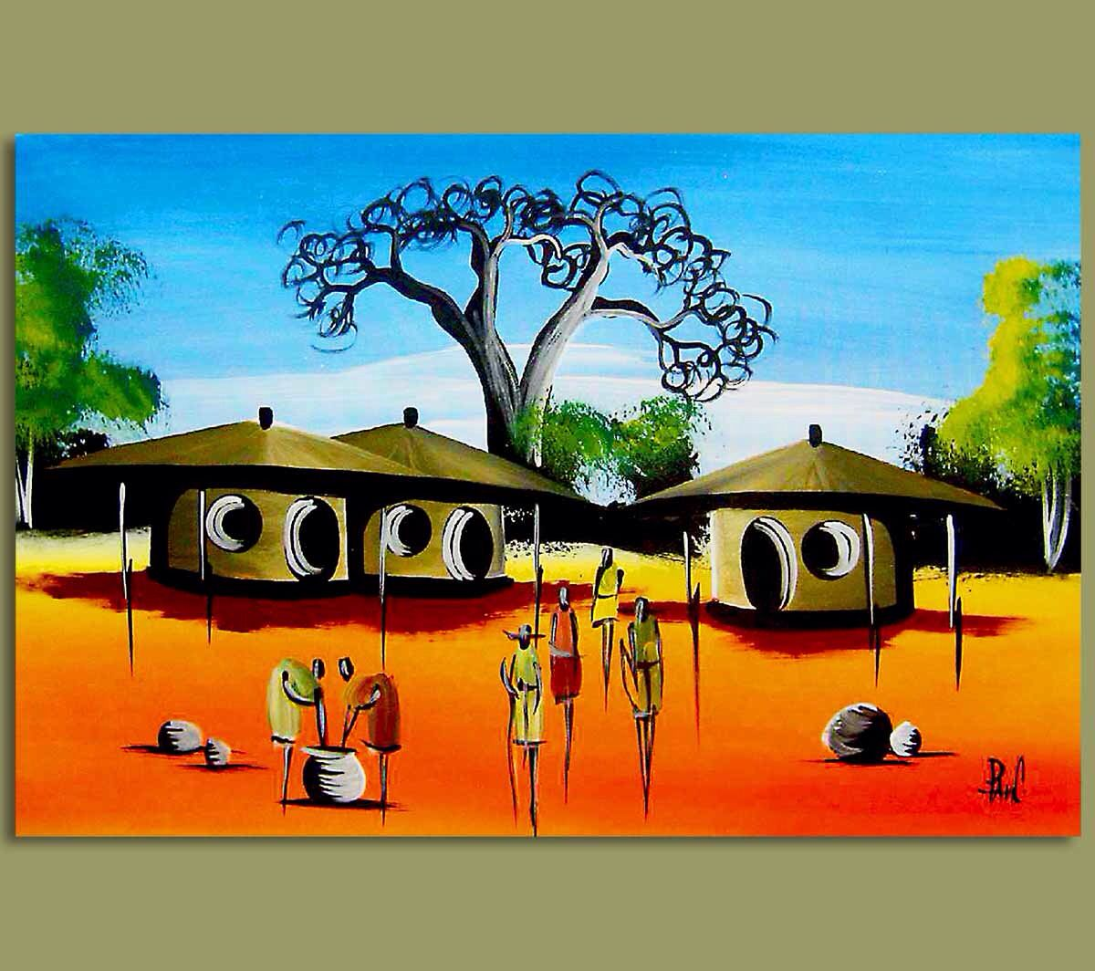 African village square | African Art | Pinterest | Africans and ...