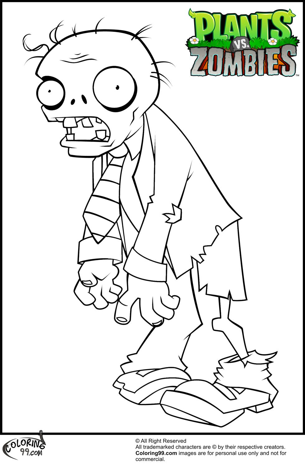 Plants v zombies coloring pages - Plants Vs Zombies Suit Zombie Coloring Pages Jpg