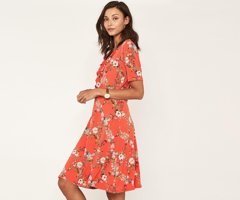 Oasis Long Trellis Wrap Dress Multi Orange Wrap Dress Dresses Fashion