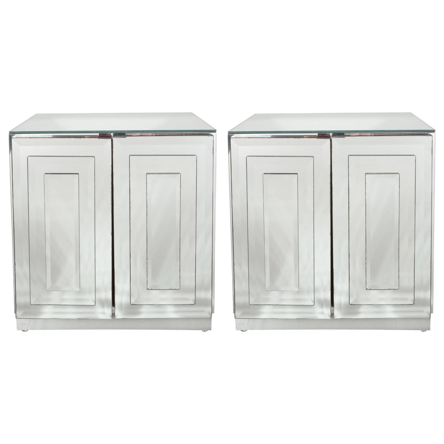 Bedrooms Mid Century Skyser Style Mirrored Nightstands End Tables By Ello
