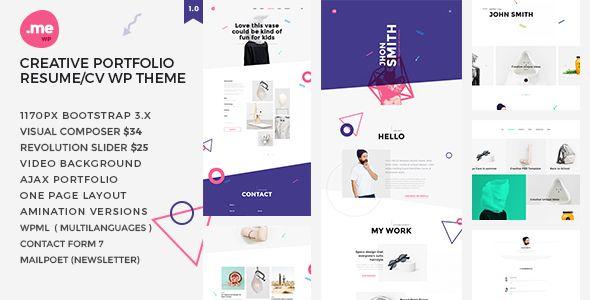 Me - Creative Portfolio  Resume / CV WordPress Theme  Me is a one