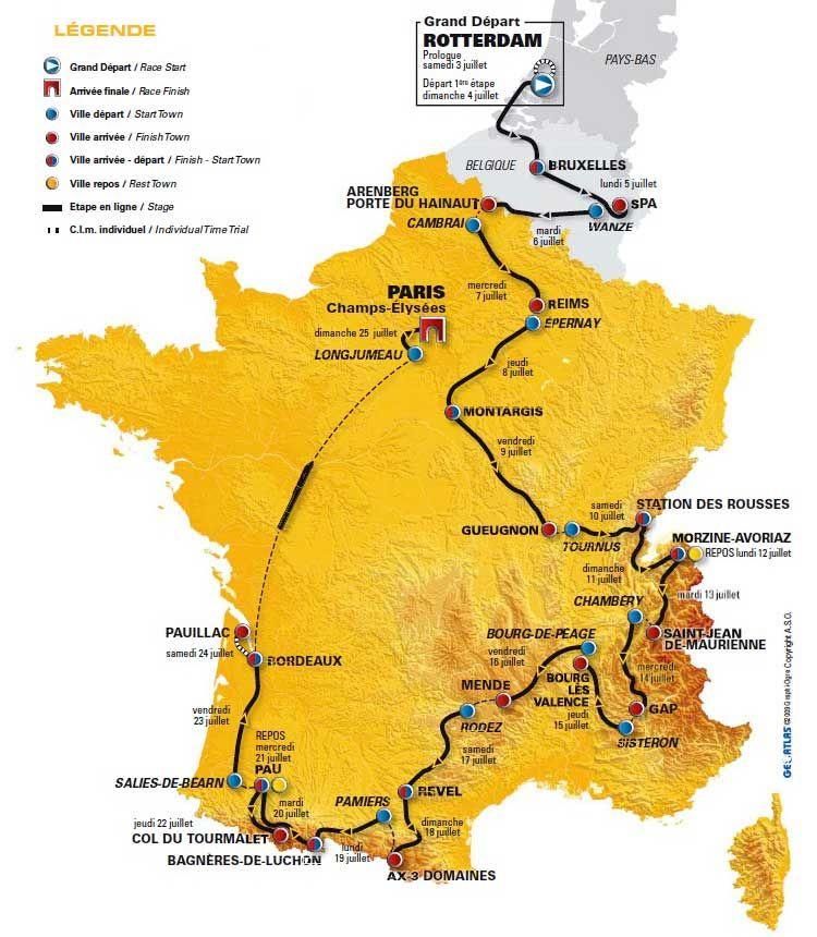 France tour-de-france map 2010
