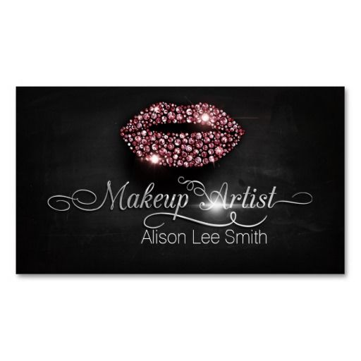 Makeup Artist/Diamonds Sparkle Lips Business Card Templates                                                                                                                                                      Más