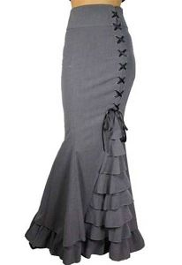 Gray Victorian skirt Gothic Steampunk skirt Medieval Corset Ruffle Maxi skirt Vintage Style Skirt