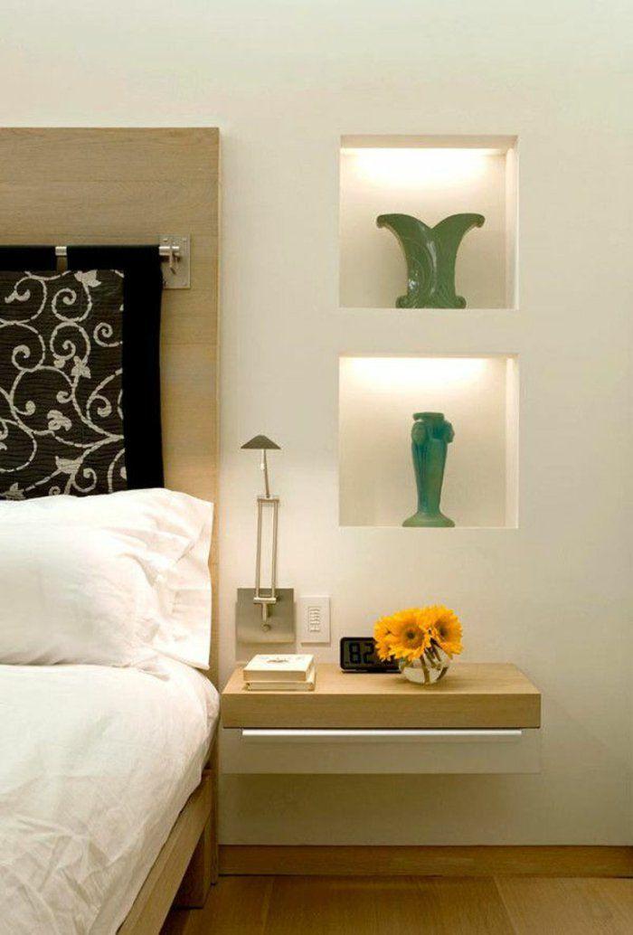 installer une table de nuit suspendue pr s de son lit les avantages chambre. Black Bedroom Furniture Sets. Home Design Ideas