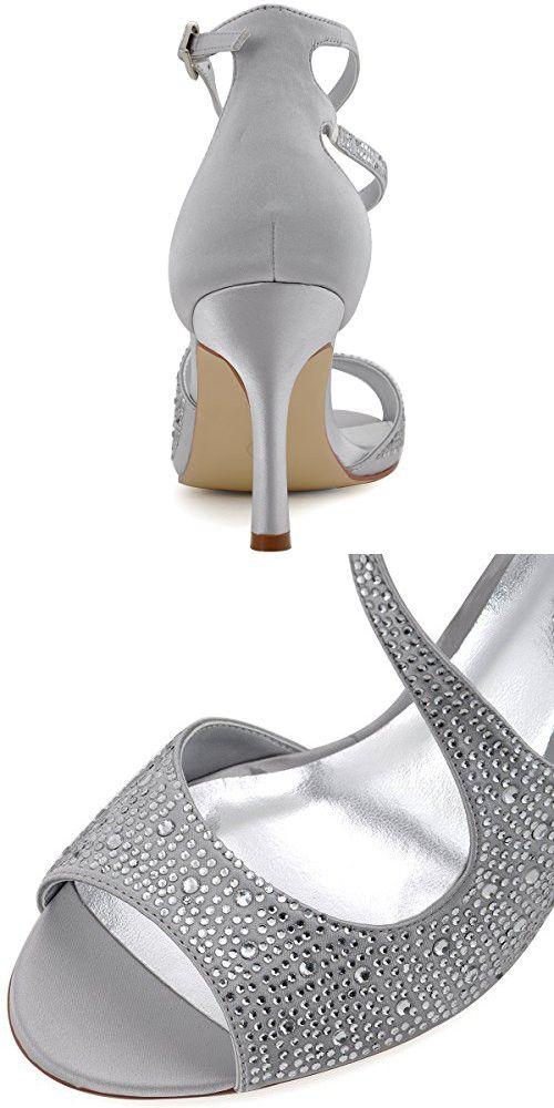 16164b408c2c5 ElegantPark HP1505 Women s Peep Toe High Heels Rhinestones Buckles Satin  Evening Party Prom Dress Sandals Silver US 7.5