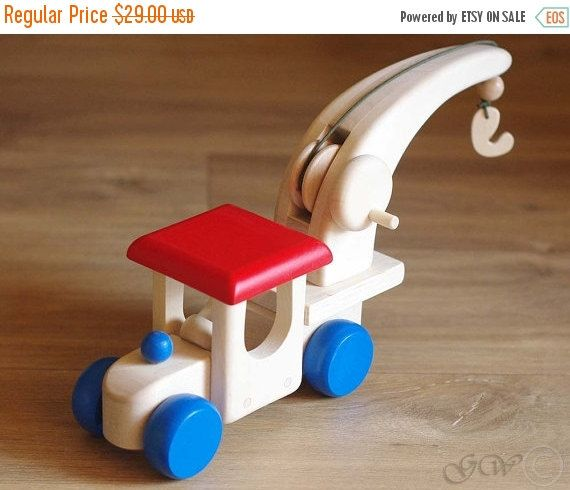 15% OFF THRU OCT Wooden Crane with Hook, Wooden Car, Wooden Toy Z408