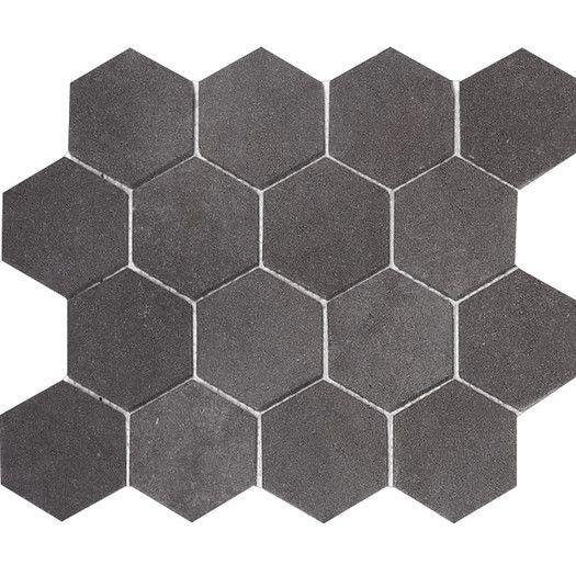 Parvatile Lava Hexagon 3 Quot X 3 Quot Stone Mosaic Tile In Black Stone Mosaic Tile Hexagonal Mosaic Mosaic Tiles